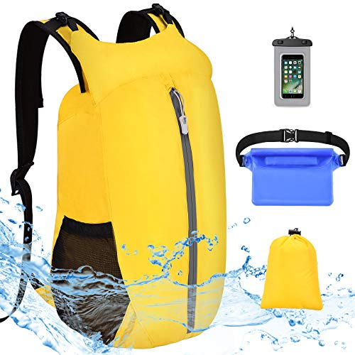 VBIGER Bolsa Estanca Impermeable 20L Mochila Flotante con Funda Impermeable para Móvil y Bolsa de Cintura - Bolsa Seca Rafting Kayak Pesca Natación Playa Senderismo Camping