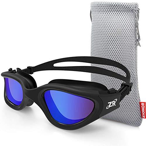ZIONOR Occhialini da Nuoto, G1 Polarizzati Occhialini Nuoto con Specchio/Fumo Lente Protezione UV Impermeabile Anti-Nebbia Regolabile Cinturino Comfort Fit per Unisex-Adulto Uomo Donna Adolescenti