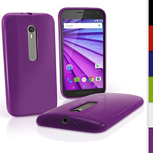 iGadgitz U3992 Funda de TPU Modelo U3992Compatible con Motorola Moto G 3a Generación XT1540 con película de protección, Color Violeta