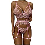 Beudylihy Conjunto de sujetador y braguita bordada, con cuello de encaje, sexy, de moda, ropa interior, tanga, pijamas, medias, M-3XL, blanco y rosa vino rosa XXL