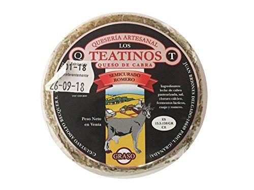Queso de cabra artesanal sabor intenso y delicioso. Quesería Artesanal los teantinos. (varios formatos) Envió GRATIS 24 h . (Romero, 300gr aprox unidad. (PACK 4 unidades))