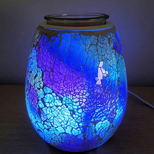 HaavPoois quemador de aceite eléctrico de vidrio para cera derrite mosaico patrón aromaterapia lámpara colorido decoración noche luz para el hogar oficina dormitorio sala regalos