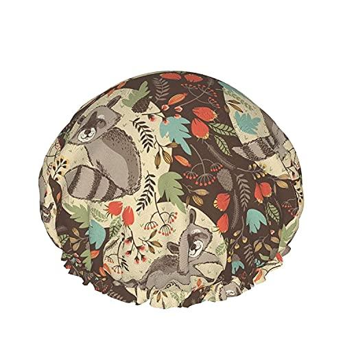 Otoño colorido Fantasía Bosque Florecer Impermeable Gorro de Ducha con Elástico Dobladillo Diseño Reversible para la Ducha para Dormir Bonnet Tapa para Todas las Longitudes de Pelo