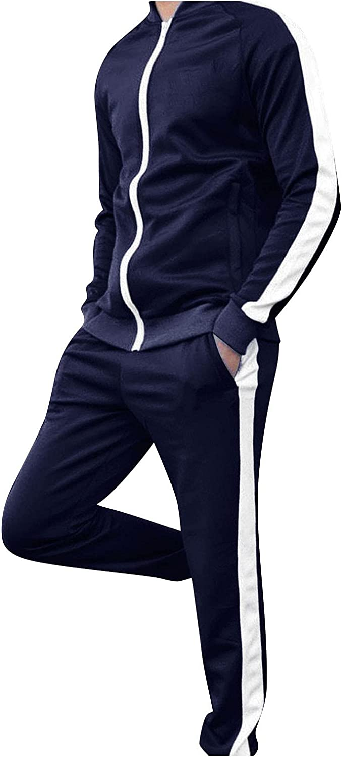 FORUU Men's Athletic Tracksuit Stylish Full Zip Sweatsuits Patchwork 2 Piece Jogging Suits with Pocket Men's Outfits