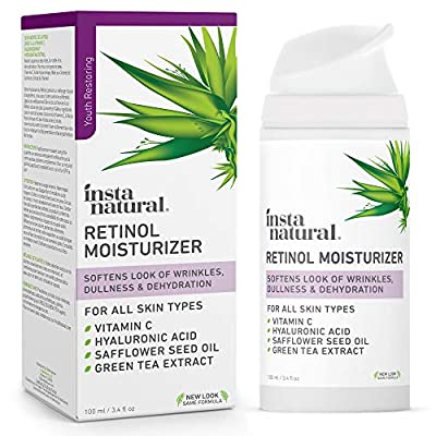 InstaNatural Retinol Moisturiser Anti Aging Cream - Anti Wrinkle Lotion For Your Face - Helps Reduce Appearance of Wrinkles, Crows Feet, Circles & Fine Lines - With Vitamin C Hyaluronic Acid - 100 ml