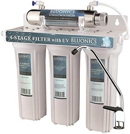 4 - Stage Drinking Water Filter UV Ultraviolet Light Purifier for Bacteria Under Sink Filtration System