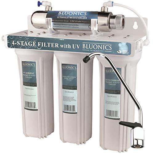 Bluonics 4 Stage Drinking Water Filter UV Ultraviolet Light Purifier for Under Sink Filtration System