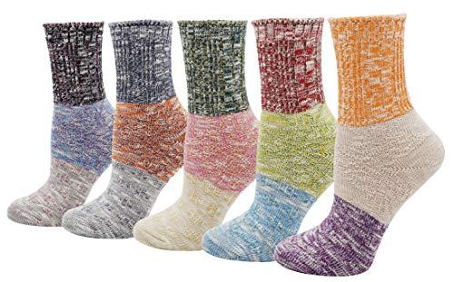 Women's Lady's 5 Pack Multicolor Cotton Crew Socks, Multi Color 4