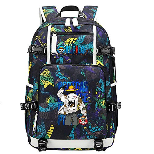 ZZGOO-LL One Piece Monkey·D·Luffy/Roronoa Zoro Backpack Casual Rucksack Waterproof Business Travel with USB Unisex-E