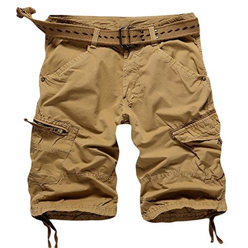 CeRui Pantaloncini Corti Bermuda Cargo Short con Tasconi Laterali Uomo Taglia 32 Abbronzatura