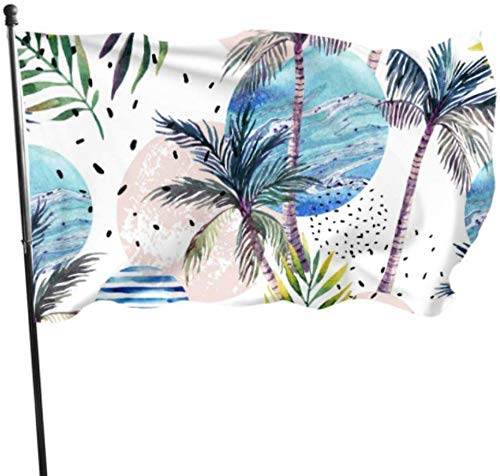 Hawaii Tropical Palm Tree Leaves Geometric Holiday Yard Flags Set Adult Flag 3x5 Feet Vibrant Colors Quality Polyester and Brass Grommets