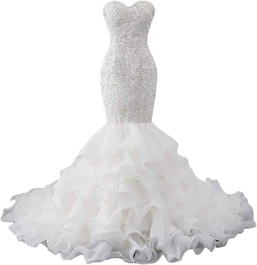 iluckin Crystal Women's Sweetheart Mermaid Wedding Dresses for Bride 2021 Organza Ruffles Bridal Gowns with Train Long