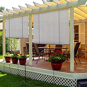 TANG Sunshades Depot Exterior Roller Shade Roll up Shade for Patio Deck Porch Pergola Balcony Backyard Patio or Other Outdoor Spaces Blinds Light Filtering Block 90% UV Rays 7' W x 6' L Light Grey