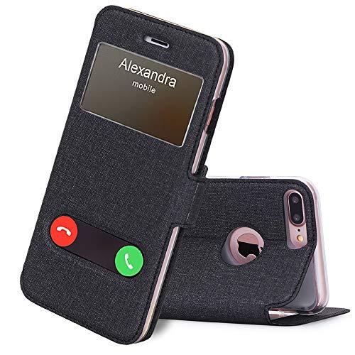 Handyhülle für iPhone 7 Plus/ 8 Plus Schutzhülle,iPhone 7 Plus Flip Cover Hülle Tasche,Leder Handytasche Magnet Hülle mit Ständer fürApple iPhone 7 +/iPhone 8 + Hülle-Leinwand Schwarz