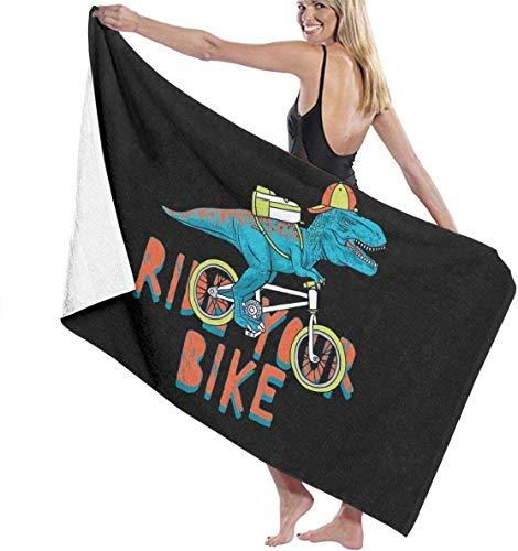 FETEAM Toalla de baño de Dinosaurio y Bicicleta Mantas Suaves para la Piel Toalla Grande Toalla de Viaje para Piscina Toalla de Yoga Toalla para niños