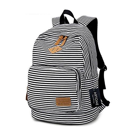 Artone Banda Scuola Borsa Daypack Casuale Zaino Con Scomparto Laptopt Bianco Nero
