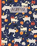 Notebook: Cute Pugs & Halloween Theme - Lined Notebook, Diary, Track, Log & Journal - Gift Idea for Boys Girls Teens Men Women (8'x10' 120 Pages)
