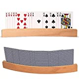 Shiyi Playing Card Holder, Wooden Hands-Free Playing Card Holder Racks Tray, Curved Design, 13'' with Widen Base Organizes for Bridge Board Game Poker
