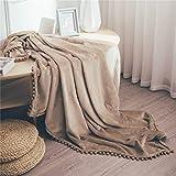 DEZENE Couverture Polaire avec Pompon,Couverture Confortable en Cachemire Douce sur Le Canapé-lit, Couverture en Duvet Épais, Couverture en Peluche en Flanelle,130 x 150cm,Brun Jaune