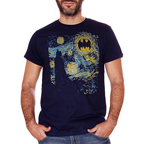T-Shirt Batman Vangogh - Il guardiano di Gotham Dipinto da Vincent in Una Notte Stellata - Gotham City impressionismo - Choose ur Color Donna S