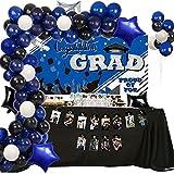 Graduation Decoration 2021 Graduation Party Supplies for College High School Graduation Balloon Arch Navy Blue Black White Balloons Polyester Graduation Background Banner Photo Banner Balloons Pump