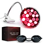 Red Light Therapy Bulb with 18 LED Bulbs for 54 Total Watts - 660nm Red and 850nm Near Infrared with Up to 2000nm Protection Goggles and Gooseneck Lamp for Skin Care and Pain Relief