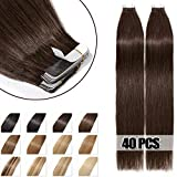 Extensiones Adhesivas de Cabello Natural 100% Remy humano extensiones de pelo 40 piezas - 100g (40cm,#04 Marrón Medio)
