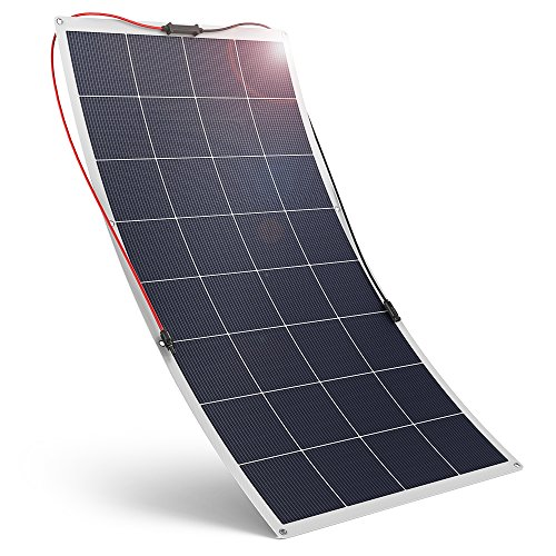 RAVPower Flexible Solar Panel 120W 18V Solar Panel Module Polycrystalline High Efficiency Bendable Design for Boat, Trailer, Tent Other Off Grid Applications, Black
