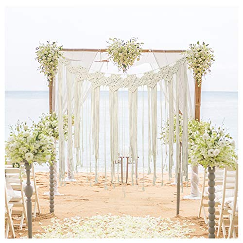 """Macrame Wall Hanging, Large Curtain Fringe Garland Banner, Boho Tapestry Wall Decor Woven Bohemian Home Holiday Decoration for Wedding Bedroom Living Room Gallery Nursery, 39"""" L x 45"""" W"""