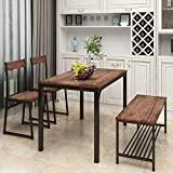 4 Pieces Dining Table Set for 4 Kitchen Table with Chair and Bench Wood Kitchen Breakfast Nook with Metal Frame, Multifunctional Computer Desk Dining Room Furniture for Small Space, Rustic Brown