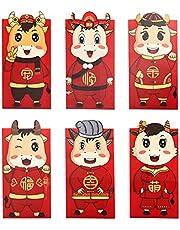 6 szt. czerwona koperta Nowy Rok szczęśliwy pieniądze koperta woł rok 2021 chiński Hong Bao na wiosnę festiwal