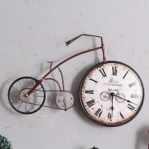 DENG&JQ Wanduhr,Fahrrad Retro Eisen Kreativ Home Wohnzimmer Schlafzimmer Wandbehang Dekorationen Wand-Dekoration-B