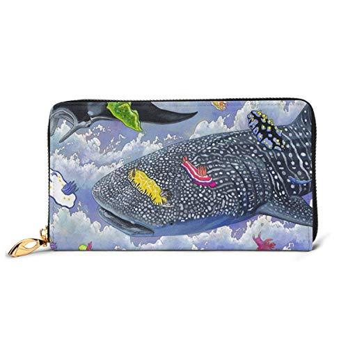 JHGFG Shark Whale und Sting Ray RFID-Blocking-Reißverschluss für Frauen Brieftasche Echte Lederkupplung Langer Kartenhalter Organizer Wallets Große Reisetasche