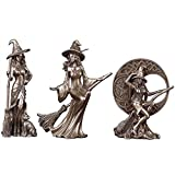 LGYKUMEG Adornos de Resina de la Estatua de Witch Dekofigur con Gato Negro/esculturas de la Luna Celta Moderno Minimalista Decoración del hogar Regalo, Set 3 Piezas,Bronce