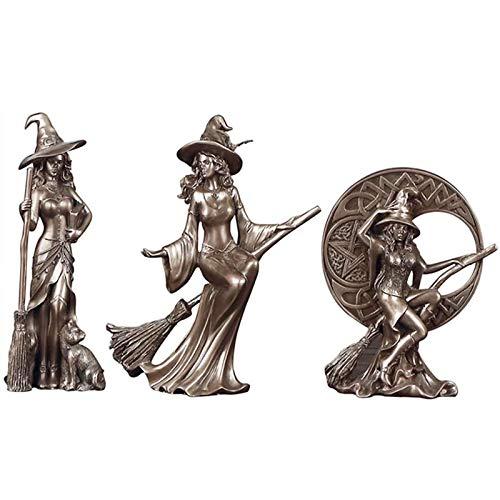 LGYKUMEG Witch Dekofigur Statue Resin Ornaments with Black Cat/Celtic Moon Sculptures Modern Minimalist Home Decoration Gift, Set 3 Pieces,Bronze