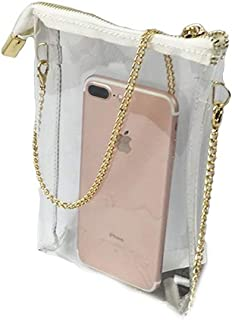 Transparent PVC Purse Crossbody Shoulder Bag Gold Zipper Arena Cell Phone Carry