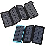 FEELLE Solar Charger 25000mAh-Black Bundle with Solar Charger 24000mAh-Blue