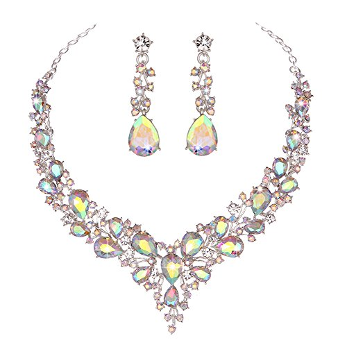 Molie Youfir Bridal Austrian Crystal Necklace and Earrings Jewelry Set Gifts fit with Wedding Dress(Crystal AB)
