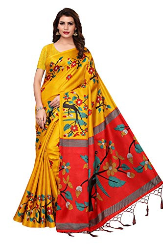 Oomph! Womens Art Silk Printed Kalamkari Sarees with Tassles (Medallion Yellow_stbirdyellow)