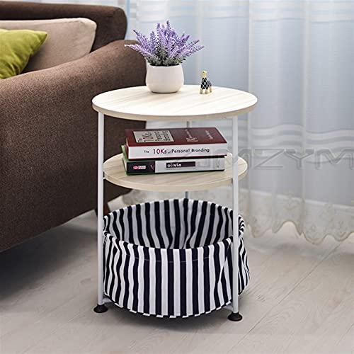 NICEDINING Kreativt enkelt runt soffbord vardagsrum telefonbord mobil soffa litet soffbord sängbord (färg: En vit lönn)