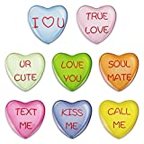 Mouthmill 8 Pcs Customized Fridge Magnets, Conversation Heart Refrigerator Magnets, Colorful Crystal Magnets, Inspired Valentines Magnets, for Lovers/Girlfriend/Husband