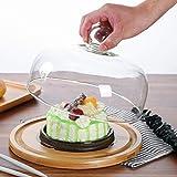 Bandeja de almacenamiento de pastelería Bandeja de madera filete, hamburguesa multifuncional Pan Cake Plate Glass Dome restaurante fruta Preservación cubierta Chip & Dip servidor Los frutos secos plat