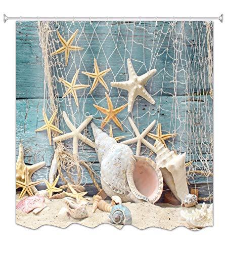 """A.Monamour Barco De Madera Azul Decoración Náutica Mar Marina Red De Pesca Estrellas Y Conchas Foto Imprimir Poliéster Cortina De Ducha 180X200 Cm / 72""""X78"""