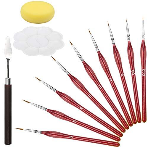 JOOPOM Juego de Pinceles para Pintar 9 Piezas Pinceles para Pintura Acrílica Pinceles de Punto de Artista Principiantes Profesionales (con Paletas de Pintura Espátula y Esponja)