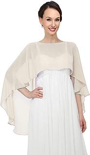Pukguro Chiffon Wrap Shawls Capes for Evening Dresses Wedding Bridal Bolero Shawl Wraps for Women Cream