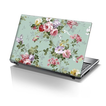 TaylorHe 15.6 inch 15 inch Laptop Skin Vinyl Decal with Colorful Patterns and Leather Effect Laminate MADE IN BRITAIN Vintage Floral Patterns for Her