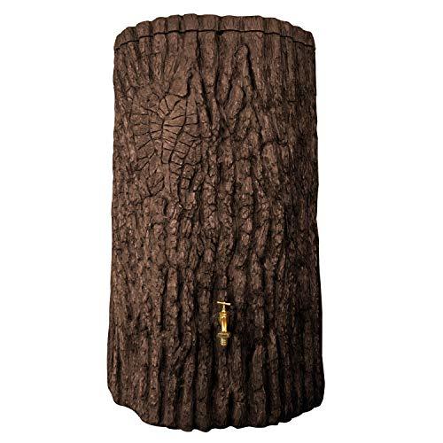 Regentonne Regenwassertank Evergreen 475 Liter dunkelbraun aus UV- und witterungsbeständigem Material. Regenfass bzw. Regeneassertonne mit kindersicherem Deckel und hochwertigen Messinganschlüssen