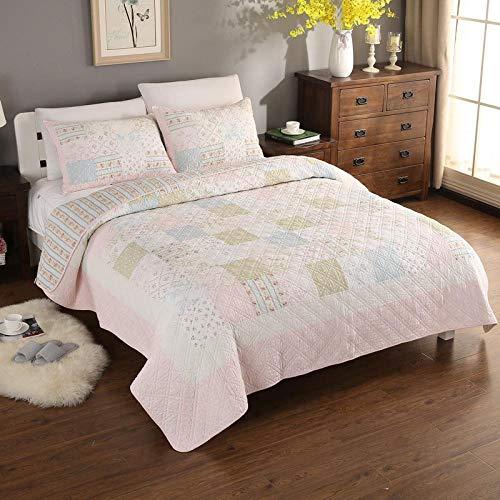Juego de colcha para cama (doble), manta de algodón suave, apto para todas las estaciones, ropa de cama de 3 piezas, color rosa 2 x 6005 pulgadas