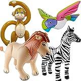 Folat/Carpeta 4 aufblasbare XXL-Tiere für eine * SAFARI-PARTY * // mit Affe + Papagei + Zebra +...