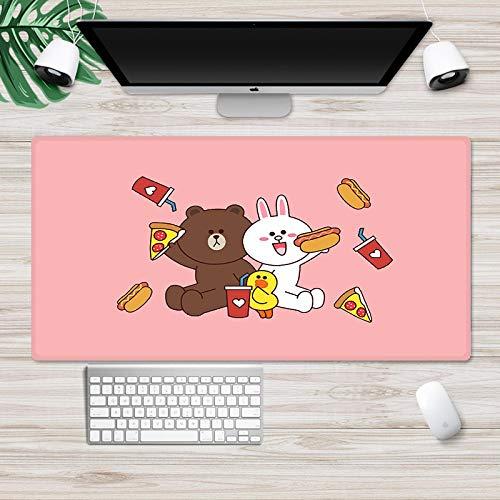 DYYTMTA Alfombrilla Ratón Grande Gaming Mouse Pad - Conejito y Oso de Dibujos Animados XXL 900x400mm con Superficie Texturizada Impermeable, Base de Goma Antideslizante para Gamers, PC, Portátil